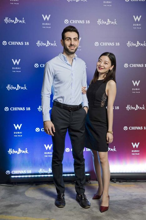 Stefano Ruocco and Chenchen Tu   Chivas 18 Event  Esquire  W Hotel Plam   Dubai   photo by Ajith Narendra  ITP Images