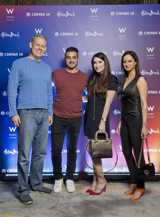 Adrian Burns Michael Botros Charlotte Lloyd and Sashi     Chivas 18 Event  Esquire  W Hotel Plam   Dubai   photo by Ajith Narendra  ITP Images17042019_Chivas 18 Event ESQ