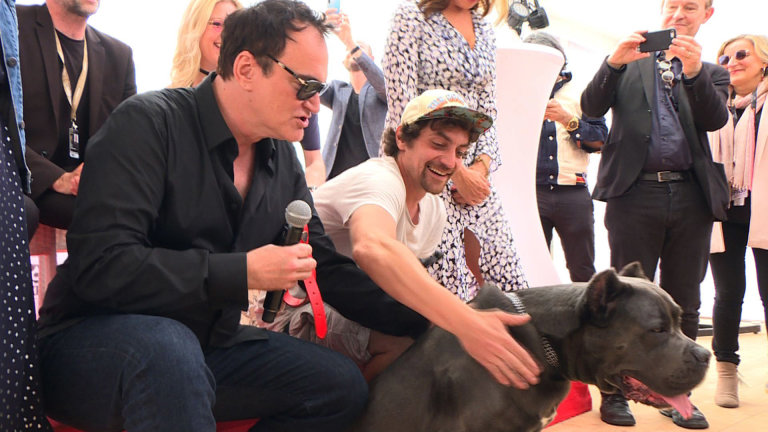 US film director Quentin Tarantino poses with standin hound Haru as he attends the Palm Dog on the sidelines of the 72nd edition of the Cannes Film Festival in Cannes southern France on May 24 2019 Photo by Natalie HANDEL  AFP