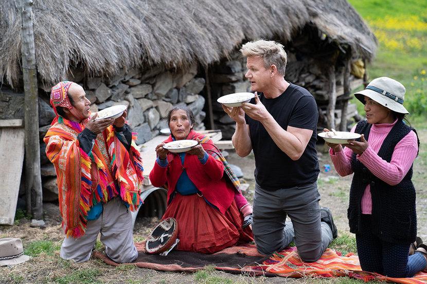 Peru - Gordon Ramsay and a local farming family dine together