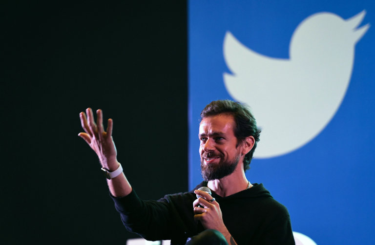FILES In this file photo taken on November 12 2018 Twitter CEO and cofounder Jack Dorsey gestures while interacting with students at the Indian Institute of Technology IIT in New Delhi on November 12 2018  Jack Dorsey twitted on June 7 2019 a picture of his forearm with a tatoo displaying the logo of French Parisian radio FIP Photo by Prakash SINGH  AFP
