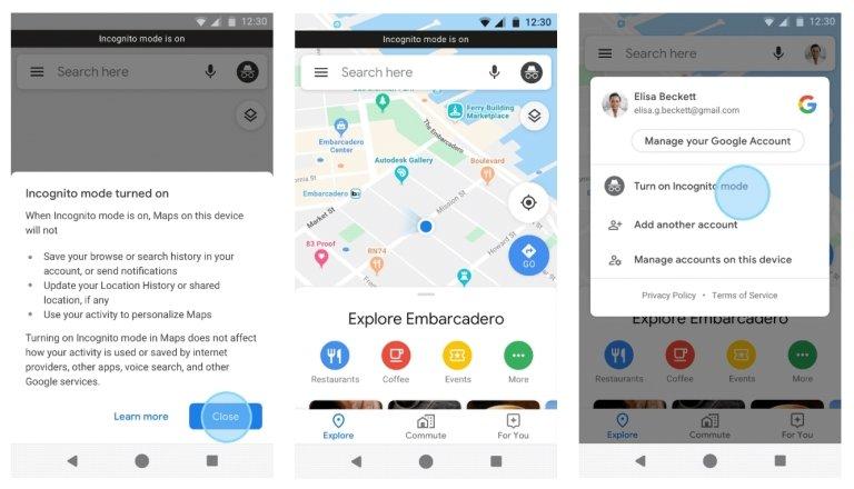 Google, Google Maps, Incognito Mode, Smartphones, Apple
