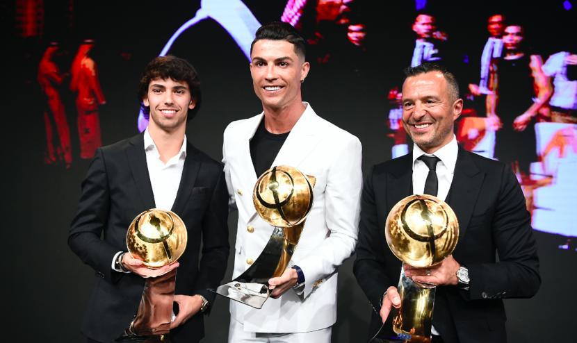 (l-r): Joao Felix, Cristiano Ronaldo and Jorge Mendez