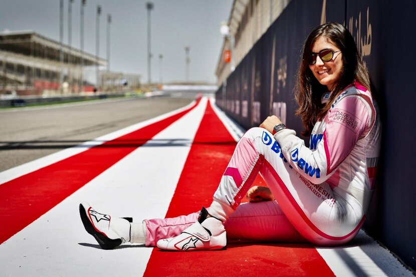Tatiana Calderon pictured at Abu Dhabi's Yas Island Circuit, wearing Carrera sunglasses