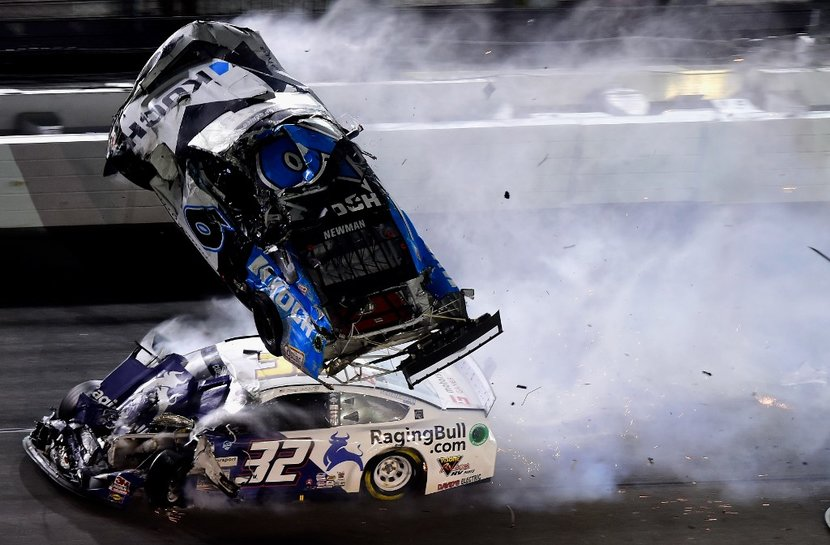 DAYTONA BEACH FLORIDA  FEBRUARY 17 Ryan Newman driver of the 6 Koch Industries Ford and Corey LaJoie driver of the 32 RagingBullcom Ford crash during the last lap of the NASCAR Cup Series 62nd Annual Daytona 500 at Daytona International Speedway on February 17 2020 in Daytona Beach Florida   Jared C TiltonGetty ImagesAFP