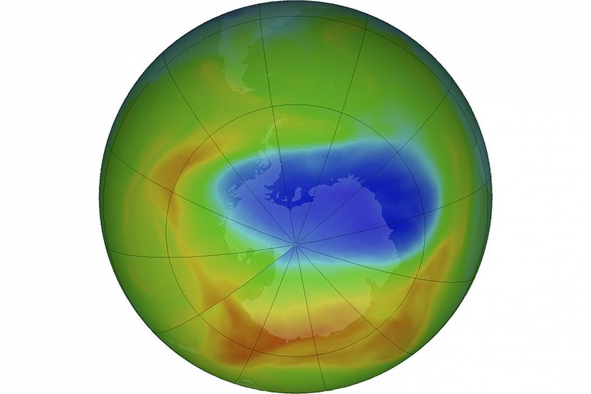 This image from NASA shows a map of a hole in the ozone layer over Antarctica in October 2019.Goddard Space Flight Center/NASA via AP