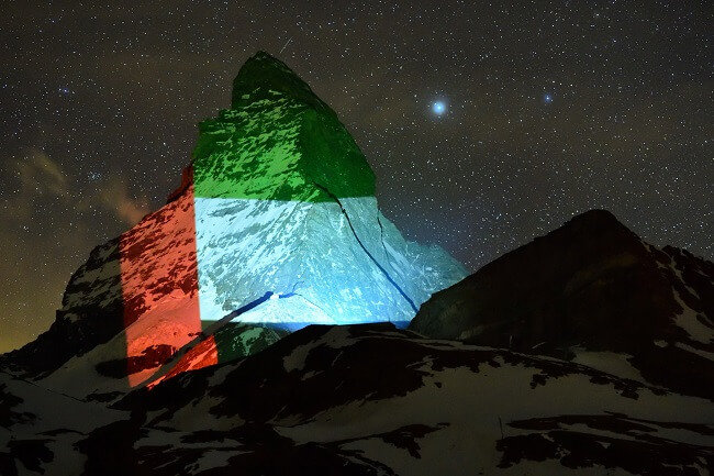 Swiss, Matterhorn, UAE flag, Covid-19
