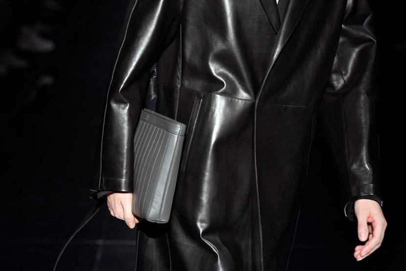 PARIS FRANCE  JANUARY 19 A model bag detail walks the runway during the Dunhill Menswear FallWinter 20202021 show as part of Paris Fashion Week on January 19 2020 in Paris France Photo by Kristy SparowGetty Images