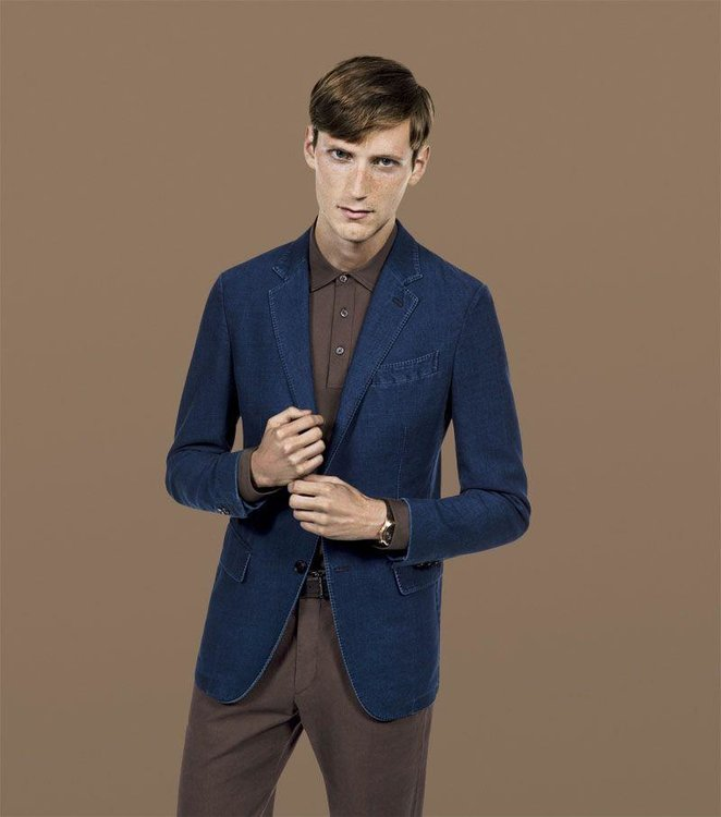 Blue Japanese denim two-button blazer with accent piping and lapel stitching, Dhs6,905