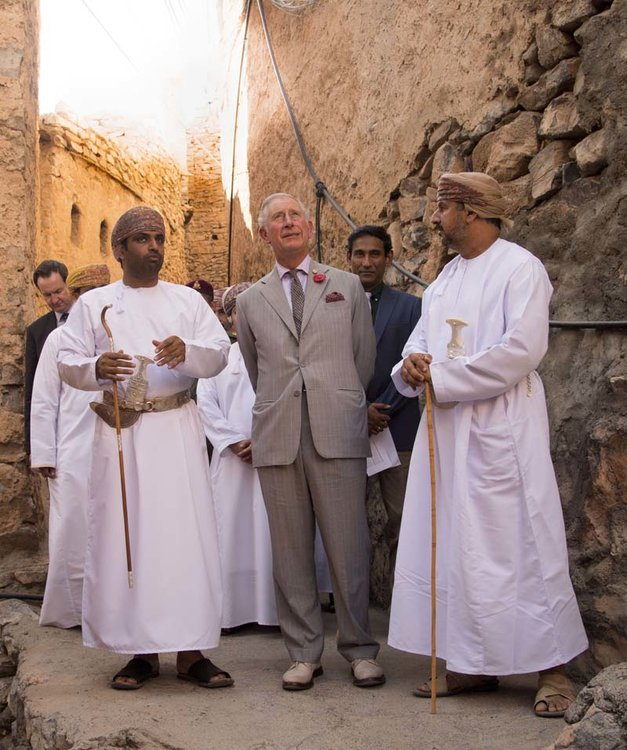 Muscat, Oman, November 5th: Prince Charles Prince of Wales takes a walking tour of the  200 year old village of Misfat Al Abriyeen village in Muscat Oman.