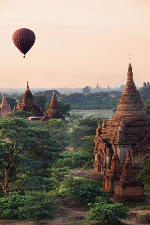 BAGAN, MYANMAR - This ancient city in central Myanmar is made up of thousands (yes, thousands) of Buddhist temples and pagodas. One of the prettiest views is from above—we recommend going for a hot air balloon ride at sunrise.